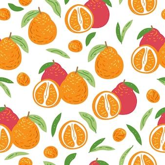Retro nahtloses muster mit orangefarbenem zweigmuster