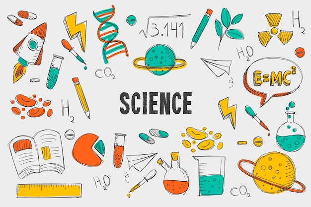 Retro naturwissenschaftlicher bildungshintergrund
