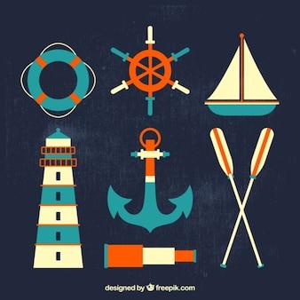 Retro nautischen elemente