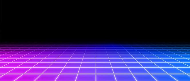 Retro neon perspektive gitterboden hintergrund
