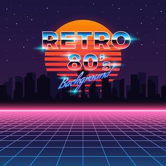 Retro neonhintergrund im stil der 80er jahre