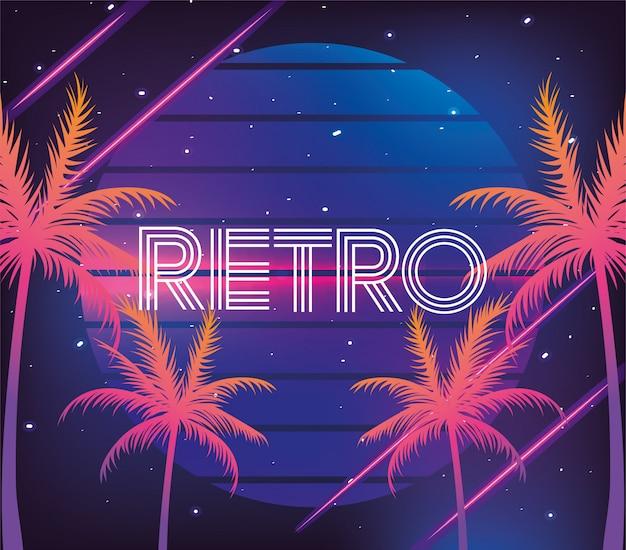Retro neonpalmen und geometrische grafik