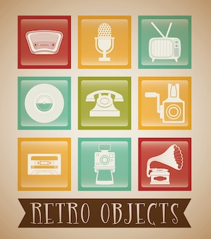 Retro objekte vintage-design