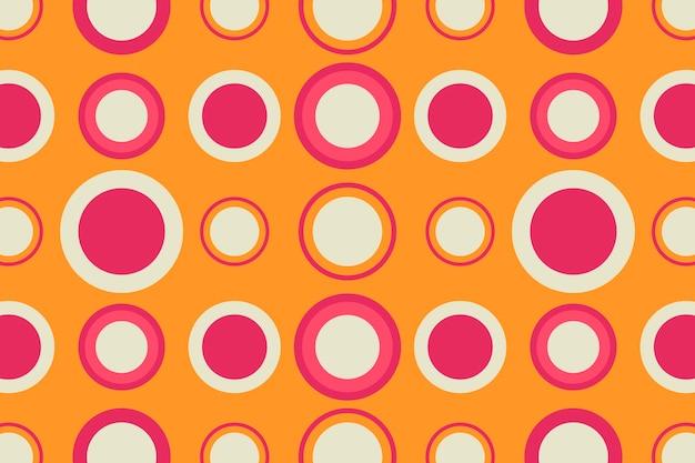 Retro orange hintergrund, geometrischer kreisformvektor