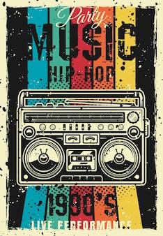 Retro party 1990er jahre vintage farbiges poster mit boombox-vektor-illustration. überlagerte, separate grunge-textur und text