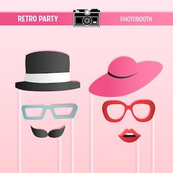 Retro-party, brautparty, hochzeitsfeier, movember bedruckbare gläser, hüte, lippen, schnurrbärte, masken für photobooth-requisiten in vektor