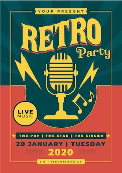 Retro party flyer vorlage