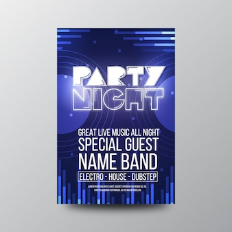Retro party nacht flyer