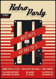 Retro party poster. vintage und nostalgie, stilvolles nachtleben. vektorillustration