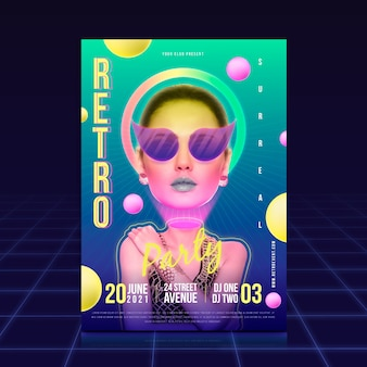 Retro party poster vorlage konzept