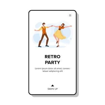 Retro party tanzender junger mann und frau