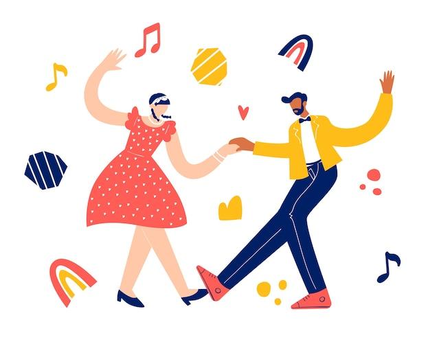 Retro party tanzkonzept. schwarzes junges paar tanzt schaukel, lindy hop, rock'n'roll.