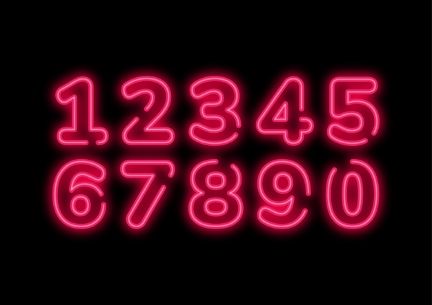 Retro pink neon punk numbers set