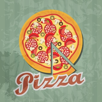 Retro-pizza-hintergrund. vektor-illustration