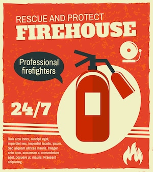Retro plakat der brandbekämpfung