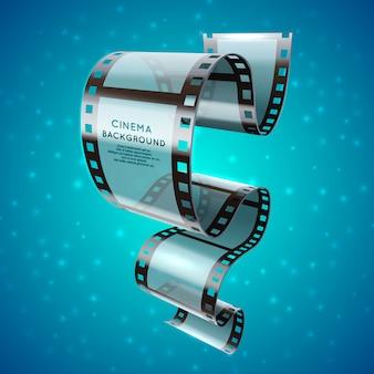 Retro- plakat des abstrakten kinos mit filmstreifenrolle