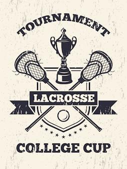 Retro- plakat des lacrossethemas im sportcollege