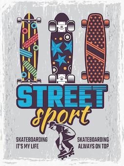 Retro plakat mit abbildungen der farbigen skateboards