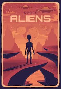 Retro-plakat mit alien und ufo auf dem planeten mit roter oberfläche, rückansicht der außerirdischen kreatur, die im himmel schaut