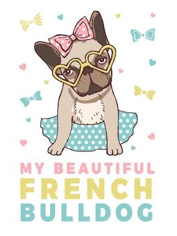 Retro- plakat mit illustrationen der lustigen französischen bulldogge