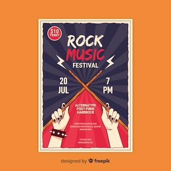Retro plakat vorlage mit rockmusik
