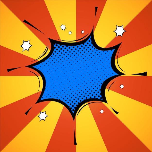 Retro pop art sprechblase, cool, pow, wow, omg! comic-objekt im hintergrund mit explosionseffekt.