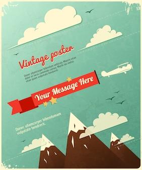 Retro poster design mit wolken.