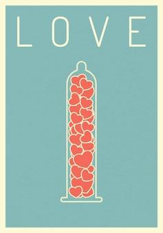 Retro-poster herz auf kondom