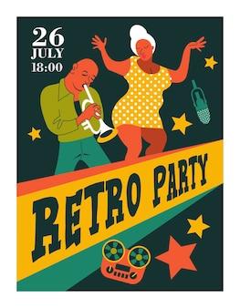 Retro-poster. jazz-party. trompeter und jazzsänger.