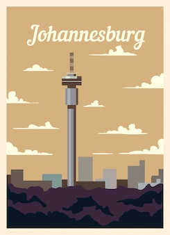 Retro poster johannesburg stadtskyline.