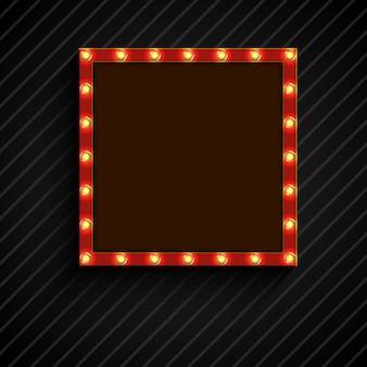 Retro- quadratische anschlagtafel mit lampen auf schwarzem hintergrund
