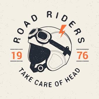 Retro racer moto helm