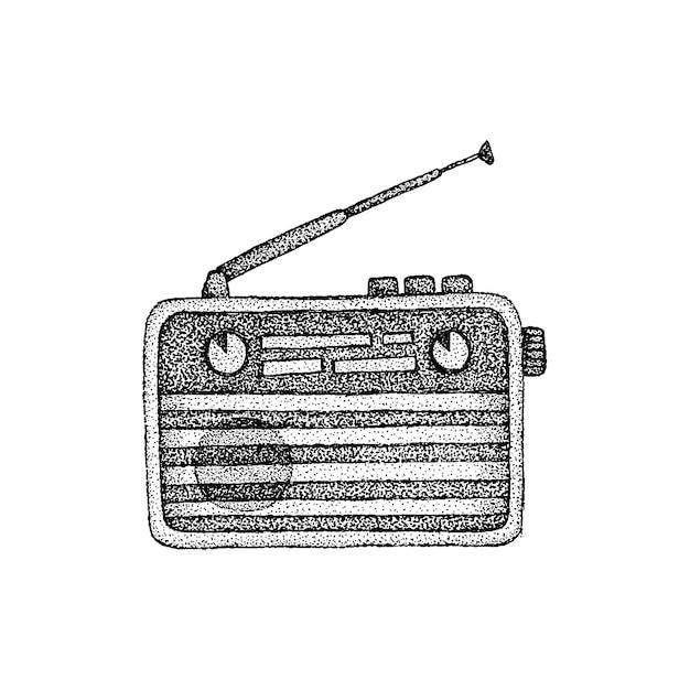 Retro-radio dotwork-vektoren. handgezeichnete skizzen-illustration der tätowierung.