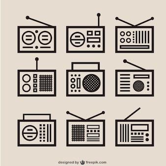 Retro radio skizziert pack