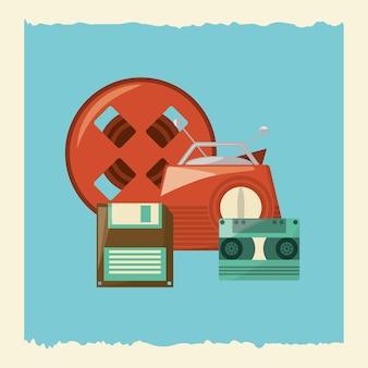 Retro- radio und andere gegenstände über blauem hintergrund