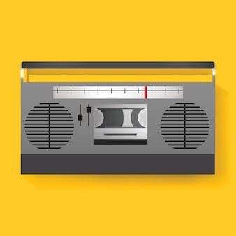 Retro- radio-unterhaltungs-medien-ikonen-illustrations-vektor