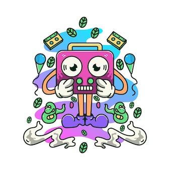 Retro-radios musik doodle illustration maskottchen logo charakter