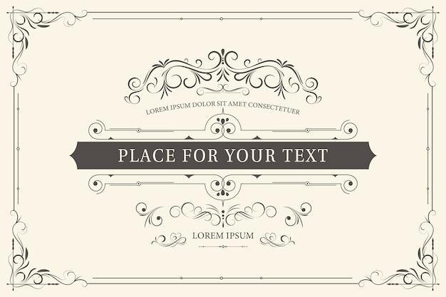 Retro-rahmen für hochzeitseinladungen oder anderes design und platz für text