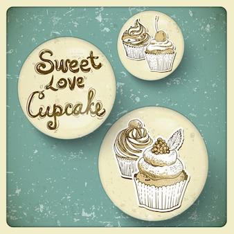 Retro rahmen mit cupcake