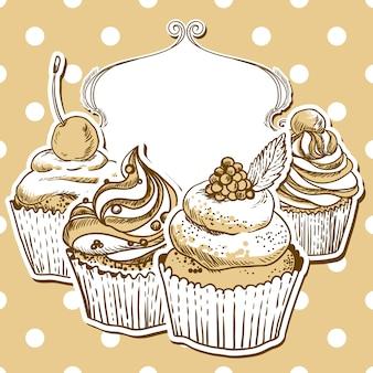 Retro-rahmen mit cupcake
