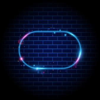 Retro-rahmen mit leuchtendem neonlicht