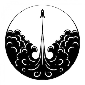 Retro rakete, flamme und rauch. schwarzweiss-zeichnung des weinleseraumtransportes in einem kreis.