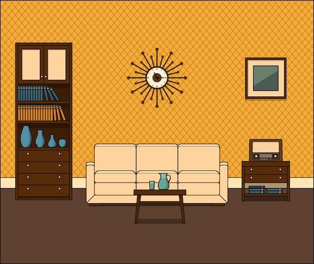 Retro raum interieur. wohnzimmer in flachem design.
