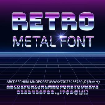 Retro raum metall vektorschriftart. metallica futuristische chrombuchstaben und -nummern im vintage-stil der 80er jahre.