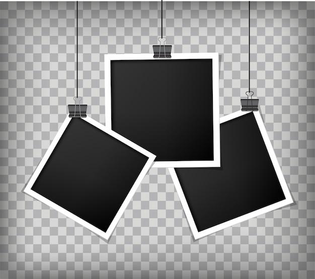 Retro- realistischer fotorahmen mit papier