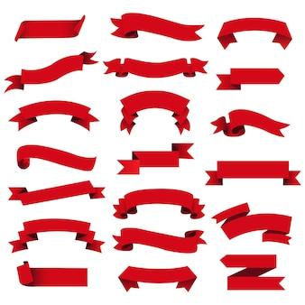 Retro red web ribbon set isoliert hintergrund