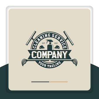 Retro reinigung logo design vektor glasreiniger spray reiniger emblem label vintage style