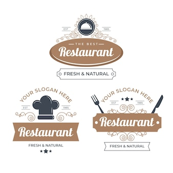 Retro restaurant logo illustration pack