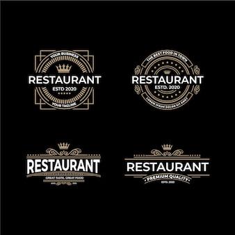Retro restaurant logo vorlage sammlung