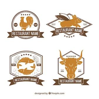 Retro restaurant logos mit tieren